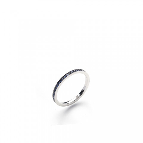 Eclipse Blue Sapphire 18ct White Gold Eternity Ring