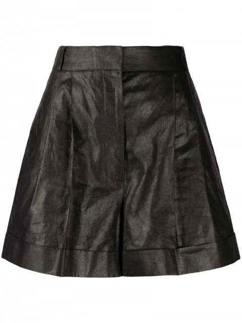 Alexander McQueen - pleated high-waist shorts - women - Linen/Flax/Cupro - 40, 42, 38, 44 - Black