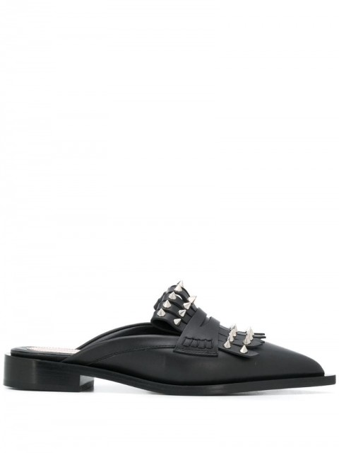 Alexander McQueen - studded leather mules - women - Leather/Rubber - 36 - Black