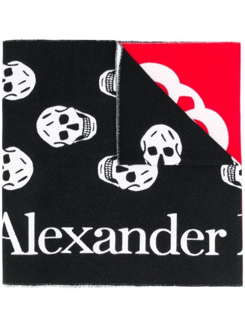 Alexander McQueen - patchwork logo-jacquard scarf - women - Cotton/Wool - One Size - White