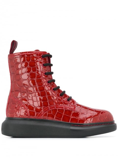 Alexander McQueen - Hybrid lace-up boots - women - Leather/Rubber - 36, 37, 38, 39, 40 - Red