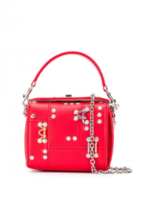 Alexander McQueen - studded box mini bag - women - Leather/metal - One Size - Red