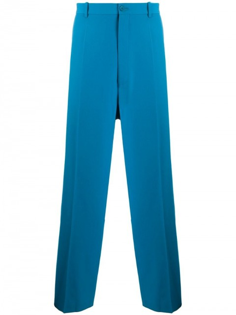 Balenciaga - wide-leg tailored trousers - men - Cotton/Cupro/Wool - 48 - Blue