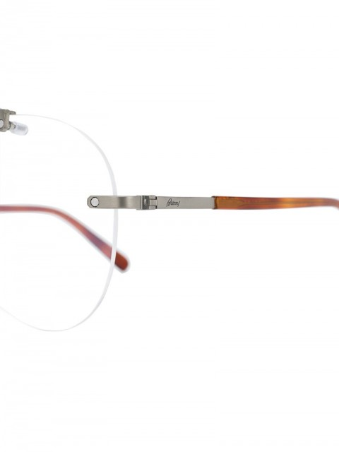 Brioni - round frame glasses - unisex - Metal (Other)/Acetate - 61 - Brown