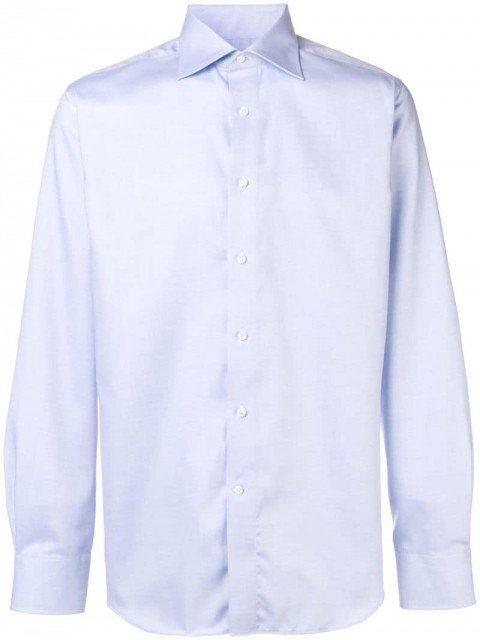 Canali - long-sleeve fitted shirt - men - Cotton - 42 - Blue