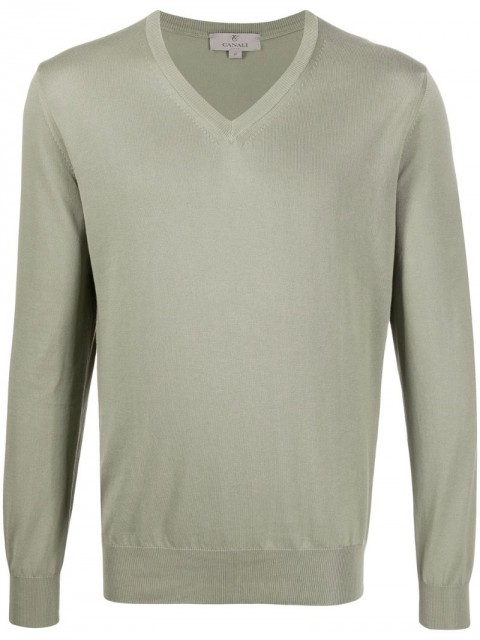 Canali - relaxed fit jumper - men - Cotton - 50, 52, 56 - Green