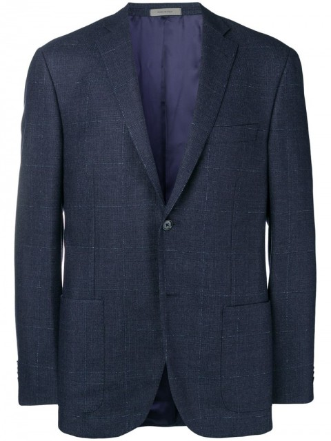Corneliani - tailored fitted blazer - men - Virgin Wool/Cashmere/Velvet - 56, 48 - Blue