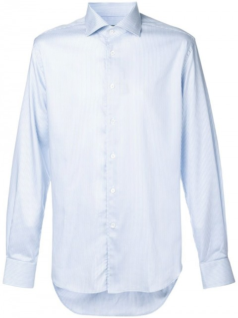 Corneliani - long-sleeve fitted shirt - men - Lyocell/Cotton - 44 - Blue