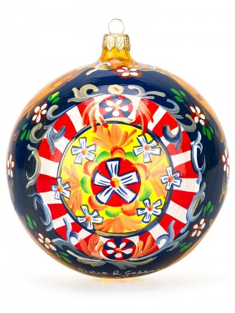 Dolce & Gabbana - Carretto print Christmas ornament - women - glass - One Size - yellow