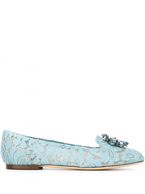 Dolce & Gabbana - 'Vally' slippers - women - Cotton/Metal (Other)/Leather/Leather - 36, 35, 38,5, 39,5, 40, 36,5, 37,5, 38, 37 - Blue