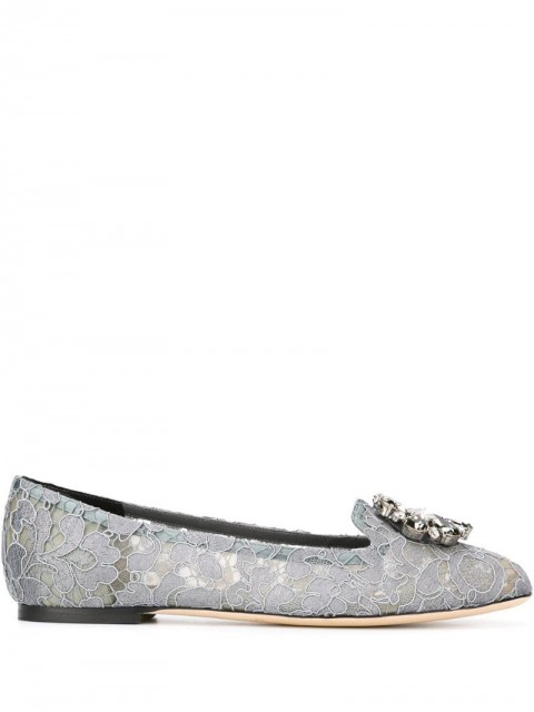 Dolce & Gabbana - Vally slippers - women - Metal (Other)/glass/Leather/Leather - 36, 35, 38,5, 40, 36,5, 37,5, 38, 42, 37 - Grey