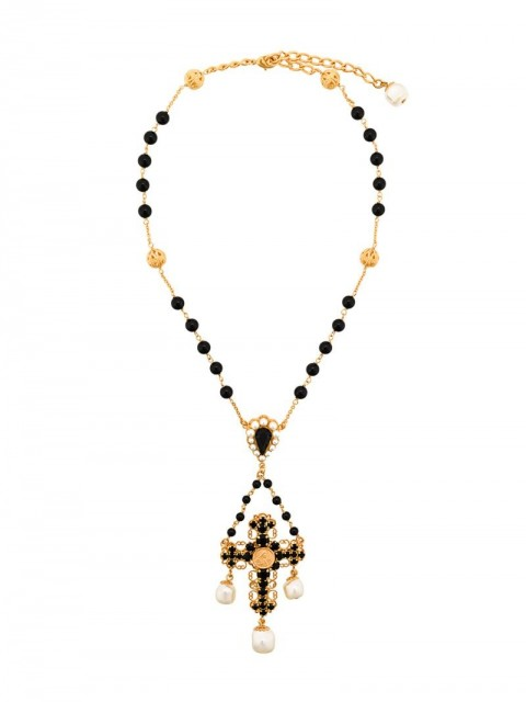 Dolce & Gabbana - beaded crucifix necklace - women - Crystal/Metal (Other)/Brass - One Size - Black