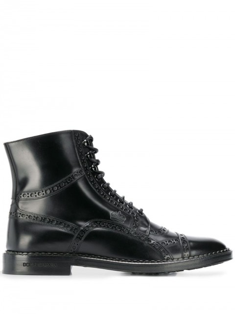 Dolce & Gabbana - lace-up ankle boots - men - Leather/Rubber - 40, 41, 43,5, 45, 44, 39, 42, 43 - Black