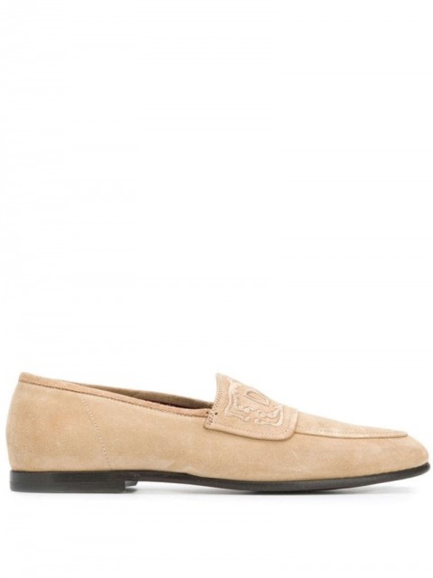 Dolce & Gabbana - embroidered logo loafers - men - Leather - 40, 43,5, 44 - Neutrals