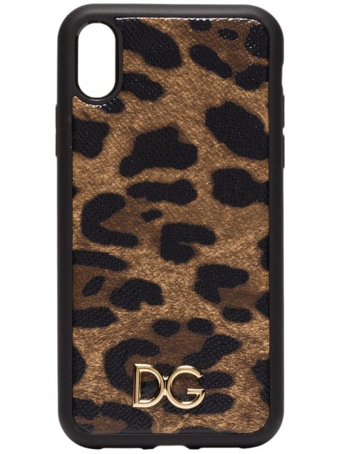 Dolce & Gabbana - leopard-print iPhone XR case - women - Acrylic/Leather - One Size - Brown