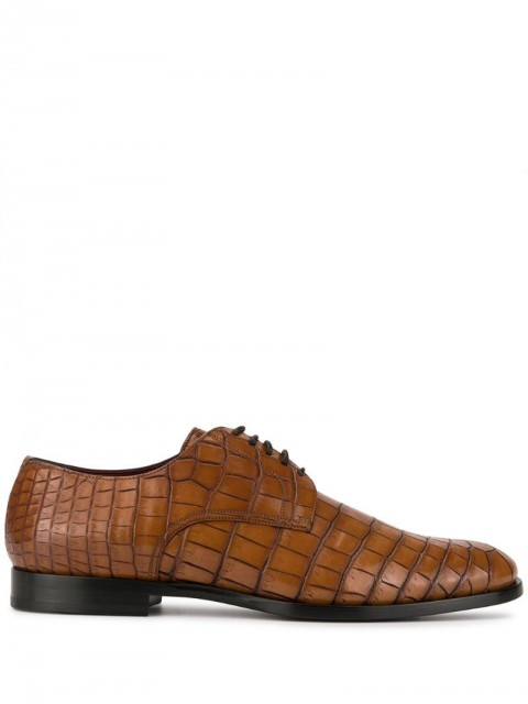 Dolce & Gabbana - crocodile effect derby shoes - men - Leather - 41 - Brown