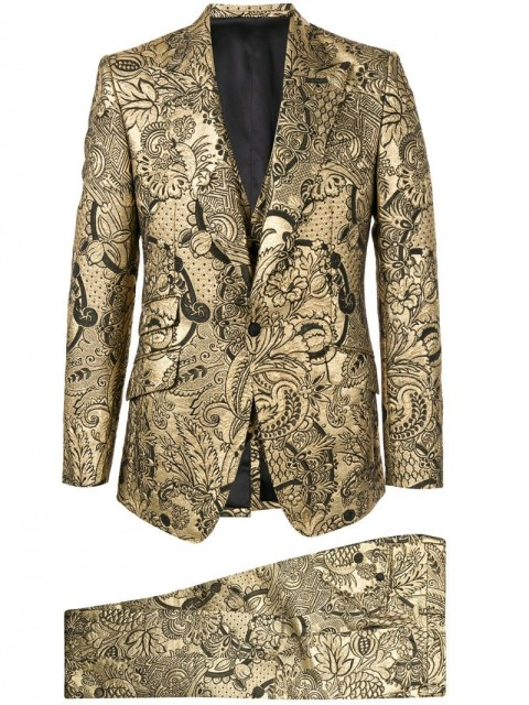 Dolce & Gabbana - floral brocade two-piece suit - men - Silk/Polyamide/Polyester/Metallized Polyester - 54, 52 - GOLD