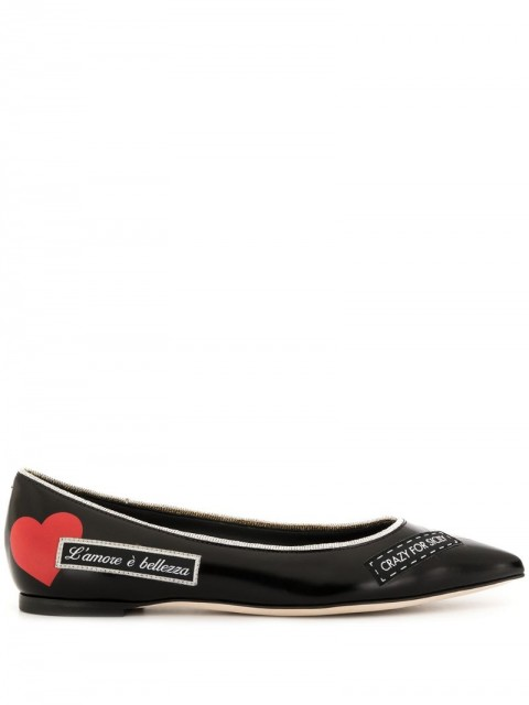 Dolce & Gabbana - logo print ballerinas - women - Leather - 35 - Black