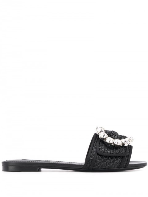 Dolce & Gabbana - Ciabatta sandals - women - Leather/Raffia - 36, 36,5, 37 - Black