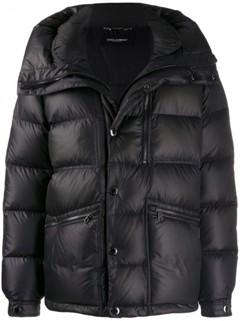 Dolce & Gabbana - oversized collar padded jacket - men - zamac/Feather Down/Polyester/Calf LeatherPolyester - 54 - Black