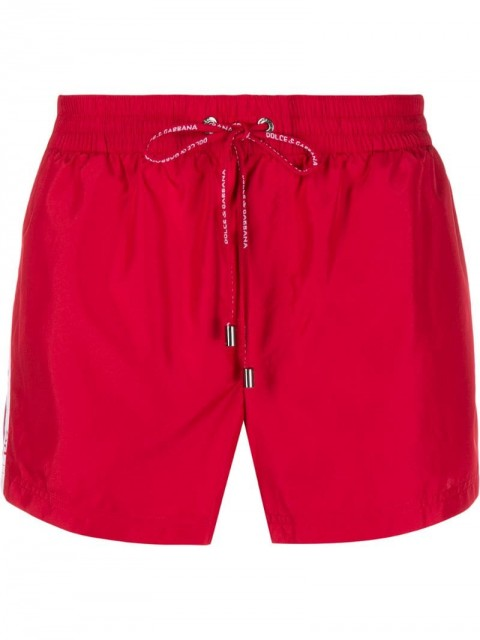 Dolce & Gabbana - short swimming shorts with logoed ribbon - men - Polyester/Spandex/Elastane/Polyimide - 3 - Red