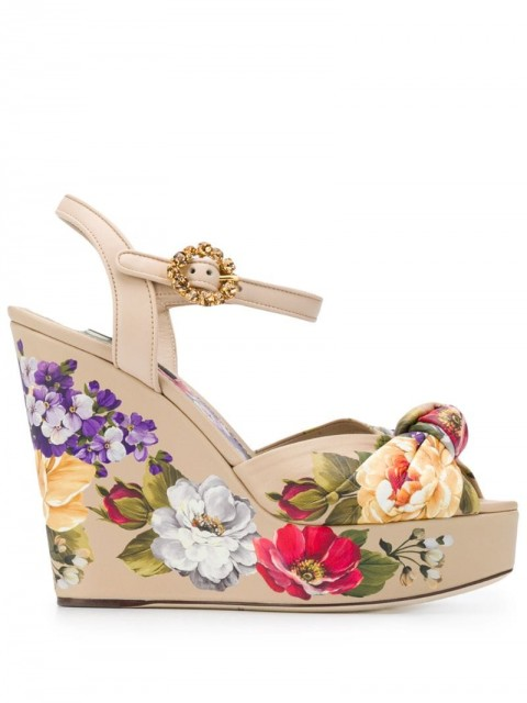 Dolce & Gabbana - floral wedge sandals - women - Calf Leather/Leather - 38,5, 35, 36,5, 37, 38, 39, 40, 36, 37,5, 35,5, 39,5, 41 - Neutrals