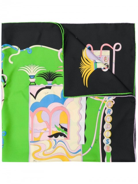 Emilio Pucci - La Villa-Print silk-twill scarf - women - Silk - One Size - PURPLE