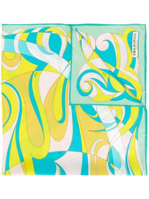 Emilio Pucci - Fortuna Print Silk-Twill Square Scarf - women - Silk - One Size - Green