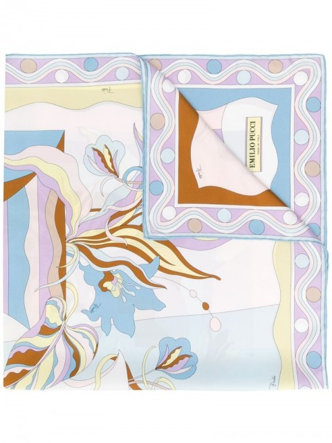Emilio Pucci - Vallauris Print Silk-Twill Square Scarf - women - Silk - One Size - Blue