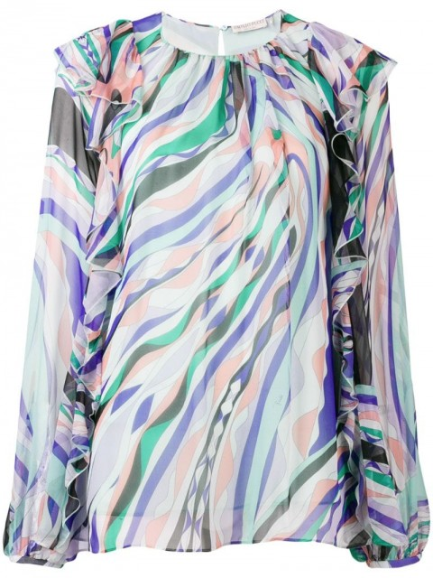 Emilio Pucci - Burle Print Ruffled Silk Top - women - Silk - 40, 42 - Blue