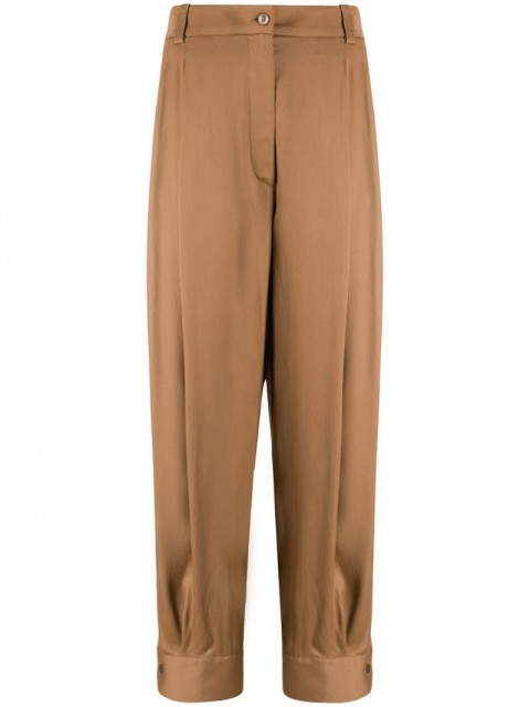 Emilio Pucci - high-waisted cropped trousers - women - Viscose/Silk/Spandex/Elastane - 40, 42, 44, 38, 46 - Brown
