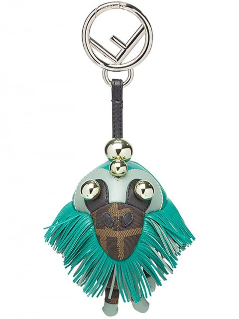 Fendi - Space monkey bag charm - women - Nylon/Lamb Skin/Polyurethane/Acrylonitrile Butadiene Styrene (ABS) - One Size - Green