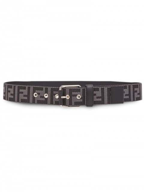 Fendi - FF motif buckle belt - men - Polyamide/Calf Leather/Polyester/Brass - 100, 105, 110 - Grey