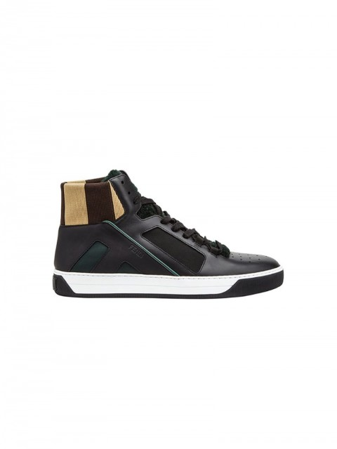 Fendi - lace-up high-top sneakers - men - Spandex/Elastane/Calf Leather/Sheep Skin/Shearling/Calf Leather - 9, 9.5, 7.5 - Multicolour