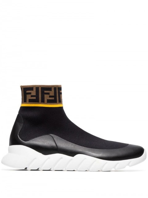 Fendi - Logo hi-top stretch sock sneakers - men - Polyamide/Polyester/Spandex/Elastane/Rubber - 5.5, 6.5, 11.5, 9, 10.5 - Black