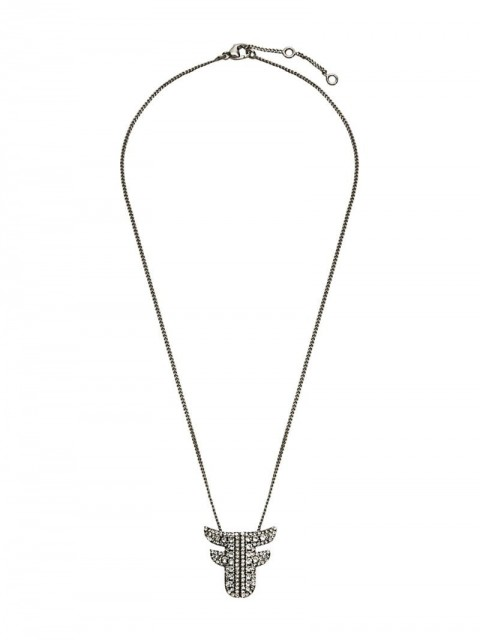 Fendi - F crystal embellished necklace - women - Brass/Crystal - One Size - F179B-VINTAGE SILVER +CRYS