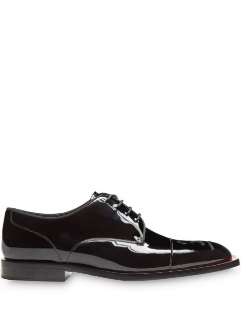 Fendi - Karligraphy motif embroidered Oxford shoes - men - Resin/Polyester/Calf Leather - 9, 10, 7.5 - F182Y-BLACK+BLACK RED DHAL