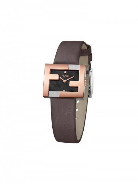 Fendi - FF logo embellished watch - women - stainless steel/Calf Leather - One Size - Black