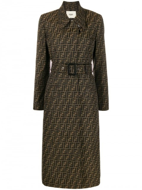 Fendi - belted FF motif trench coat - women - Silk/Cotton/Polyester - 36, 40, 42, 44, 38 - Brown