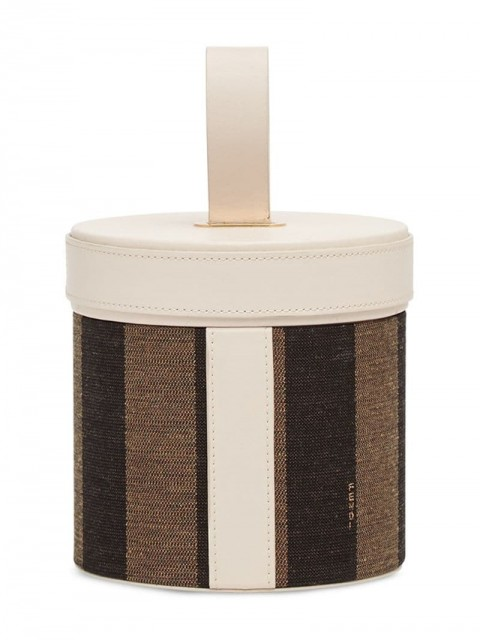 Fendi - striped cylindrical box - women - Cotton/Calf Leather/Resin - One Size - White