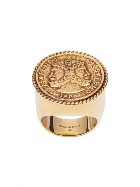 Fendi - engraved detail ring - women - metal - 56 - GOLD