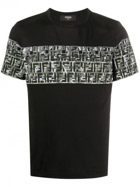 Fendi - monogram panel T-shirt - men - Cotton - XS - Black