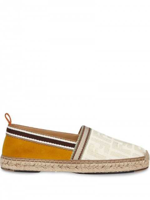 Fendi - FF jacquard motif espadrilles - men - Cotton/Calf Leather/Lamb Skin - 7, 8, 7.5 - White