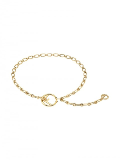 Fendi - link and chain belt - women - Brass - One Size - GOLD
