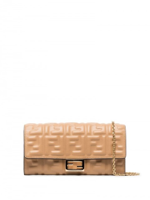 Fendi - logo-embossed leather clutch - women - Leather - One Size - Neutrals