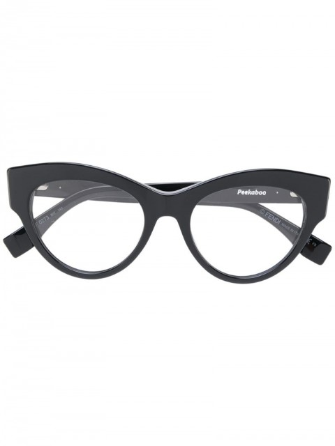 Fendi Eyewear - cat eye glasses - women - Acetate - 49 - Black
