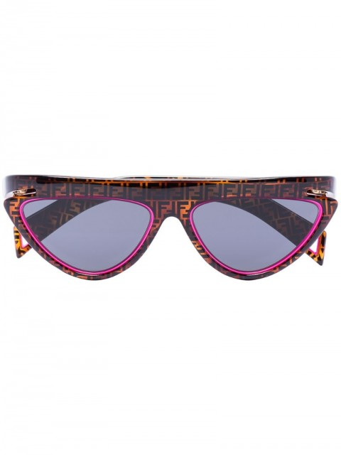 Fendi Eyewear - monogram print cat eye sunglasses - men - Acrylic/Acetate - One Size - Brown