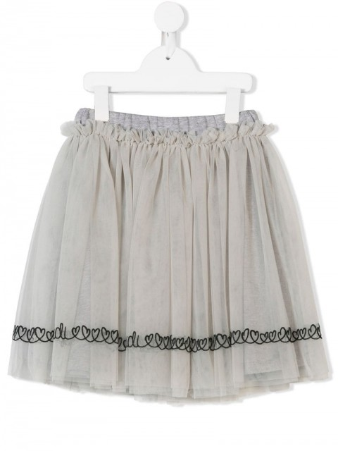 Fendi Kids - heart-embroidered flared skirt - kids - Cotton/Polyamide - 6 - Grey