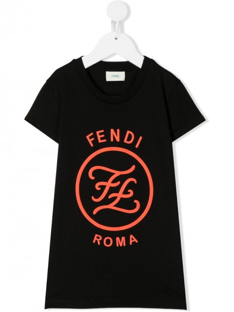 Fendi Kids - Karligraphy print T-shirt dress - kids - Cotton - 8, 3, 4, 6, 10, 12 - Black