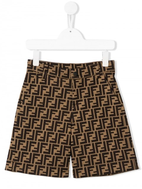 Fendi Kids - FF print knee-length shorts - kids - Cotton/Polyester - 8, 10, 6, 7, 12 - Brown